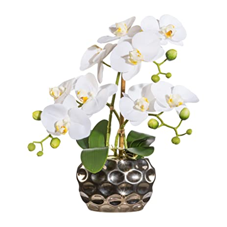 Amazon Artificial Flower White Orchid Phalaenopsis Including