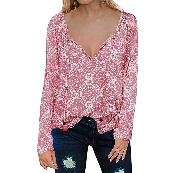❤ Blusa Larga de Bohemia de Las Mujeres, Casual con Cuello en V de Manga Larga con Estampado Floral Camisetas Tops Absolute: Amazon.es: Ropa y accesorios
