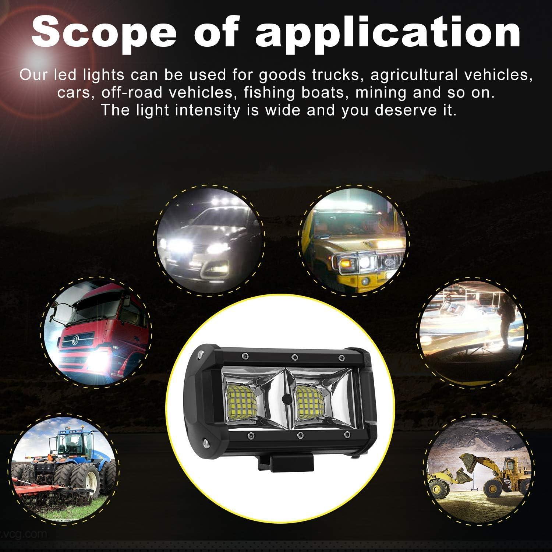 Phare a LED de 4 Pouces 2 x 60 W avec Supports de Montage Dattelage de Remorquage de 2 Pouces Universels pour Moto Bateau Remorque de Camion SUV Pickup AAIWA Phare de Travail LED