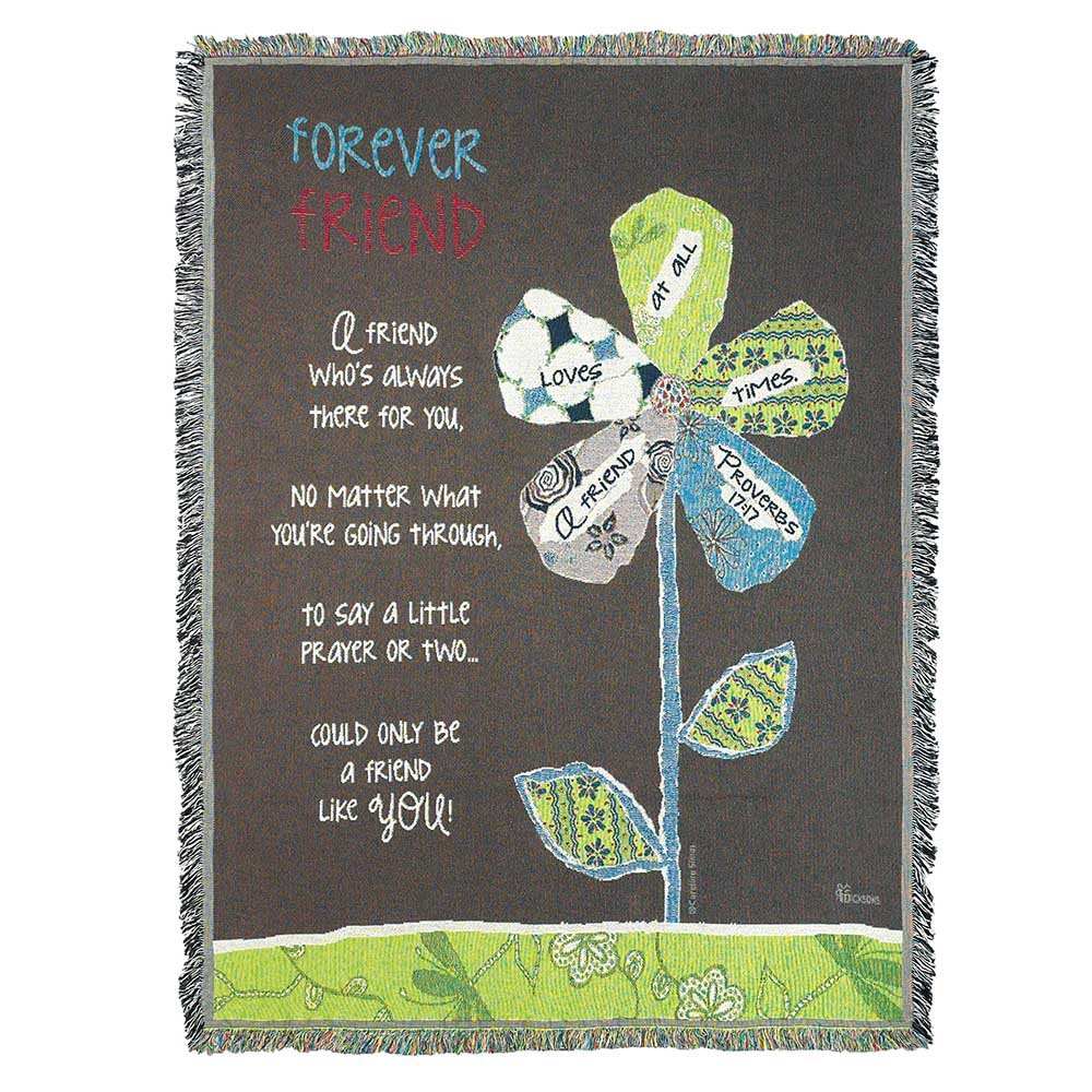 Dicksons Forever Friend Proverbs 17:17 All Cotton 52 x 68 Tapestry Throw Blanket