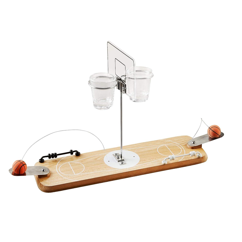 Refinery 2人用 木製バスケットボールゲーム ビンテージ風卓上フープ 2つのショットグラスバスケット 大人用 バーや男性の隠れ家に最適 スライドリングでスコアを維持 B07M7TGBPS
