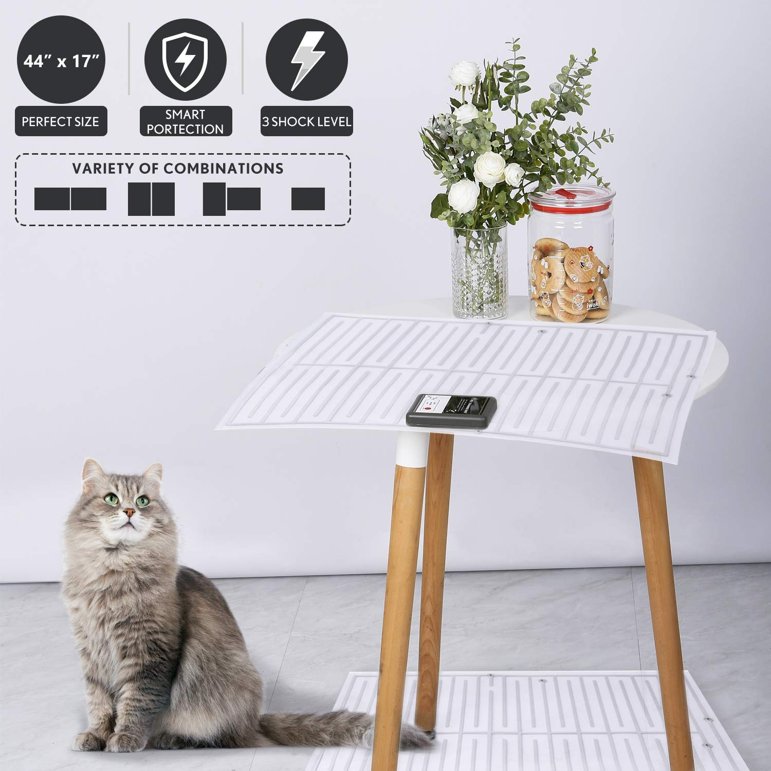 2Pcs Pet Scat Cat Mat for Dogs Cats,44''x17'' Adjustable Shape Dog Repellent Mats Indoor Outdoor,Best Pet Training Shock Mat,Pet Barrier for Off-Limit Areas,Keep Pets Off Furniture Sofa Couch, Safe UL