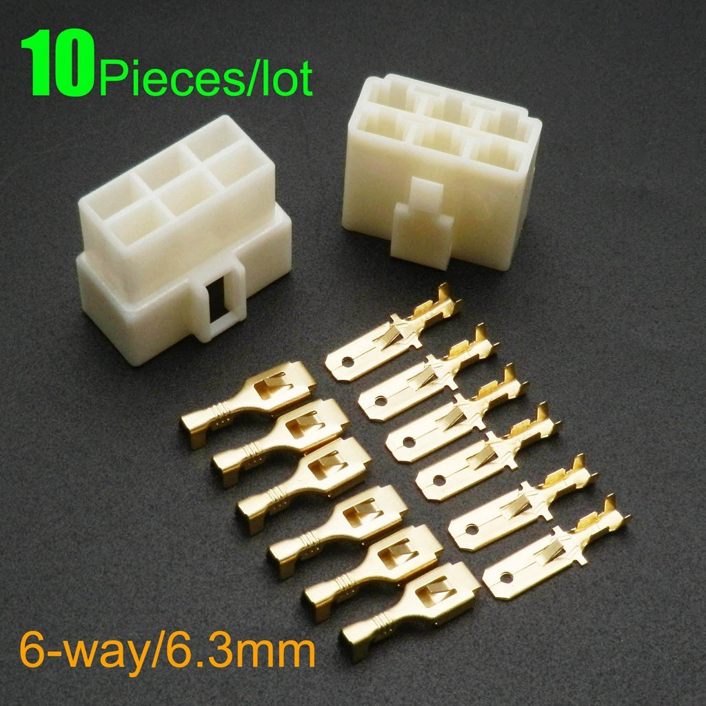 Yunshuo 10pcs 123468P femelle Bêche isolée Fil Connecteurs à sertir Bornes électriques 6, 3mm (6P) 3mm (6P)