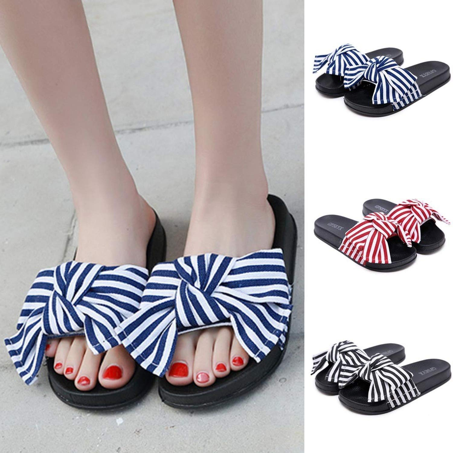 Women Slipper Summer Bow Knot Slipper Fashion Casual Home Slippers Beach Shoes Zapatillas
