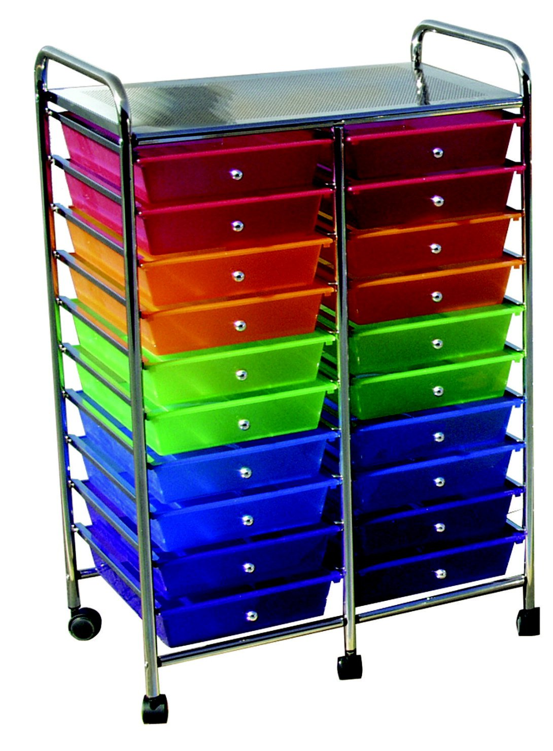 School Smart 406832 Mobile Organizer, 20 Drawers, 39'' x 21-3/4'' x 14'', Multi-Color
