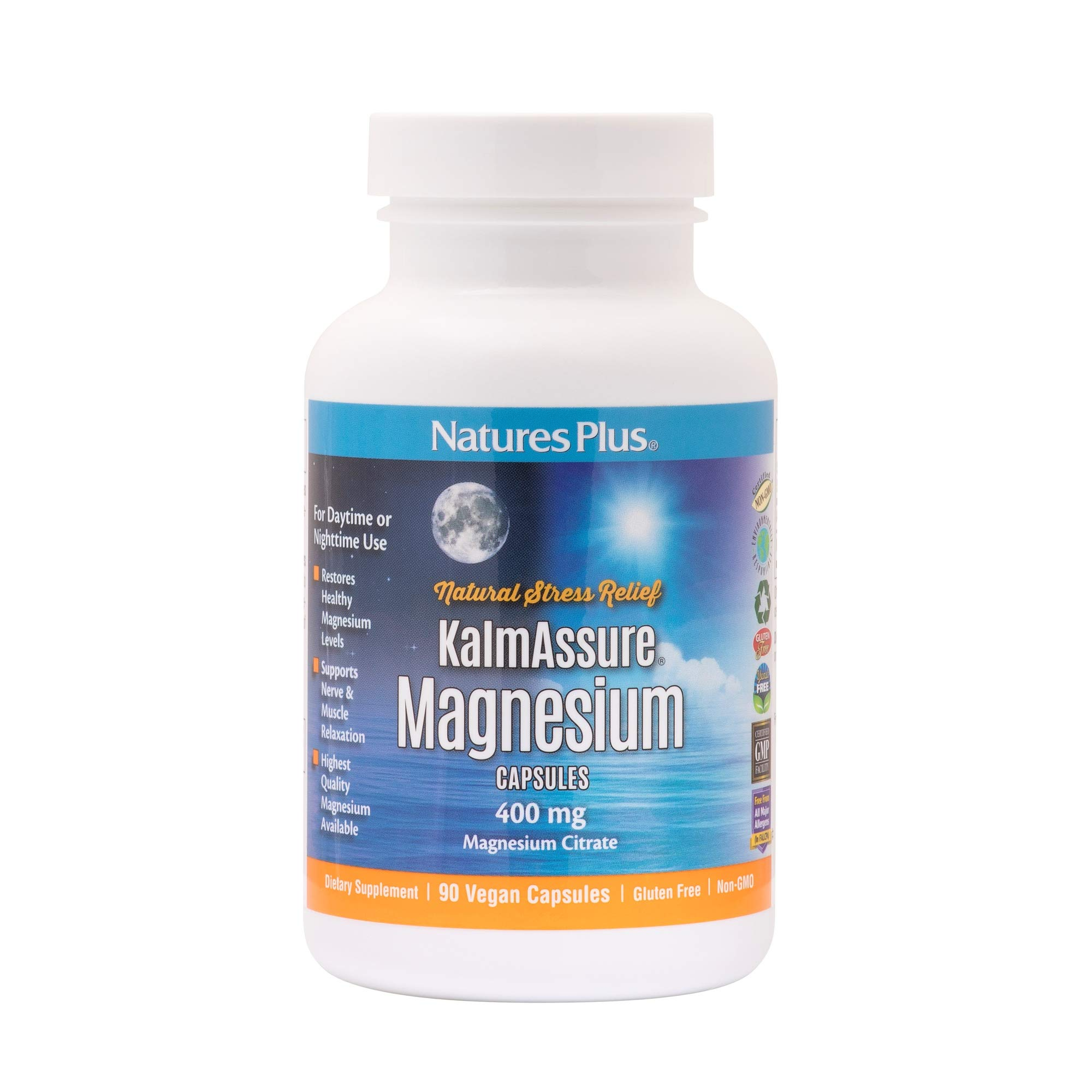 NaturesPlus Kalmassure Magnesium - 400 mg, 90 Vegan Capsules - Natural Stress Relief Supplement, Supports Nerve and Muscle Relaxation - Vegetarian, Gluten-Free - 30 Servings