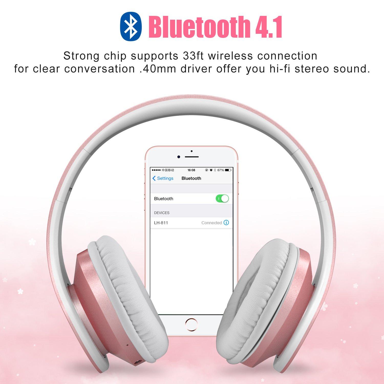 Bluetooth Kopfhörer ,LOBKIN V4.1 Stereo-Musik Faltbare over ear Kopfhörer headsetGeräuschunterdrückung inkl. Mikrofon für Freisprechfunktion, Kabellos, geeignet für Iphone 7 6S 6S, 6S Plus Samsung, Android Smartphone, Tablet, PC, MAC und La