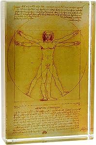 Vitruvian Man by Leonardo da Vinci DeskPop Crystal Paperweight