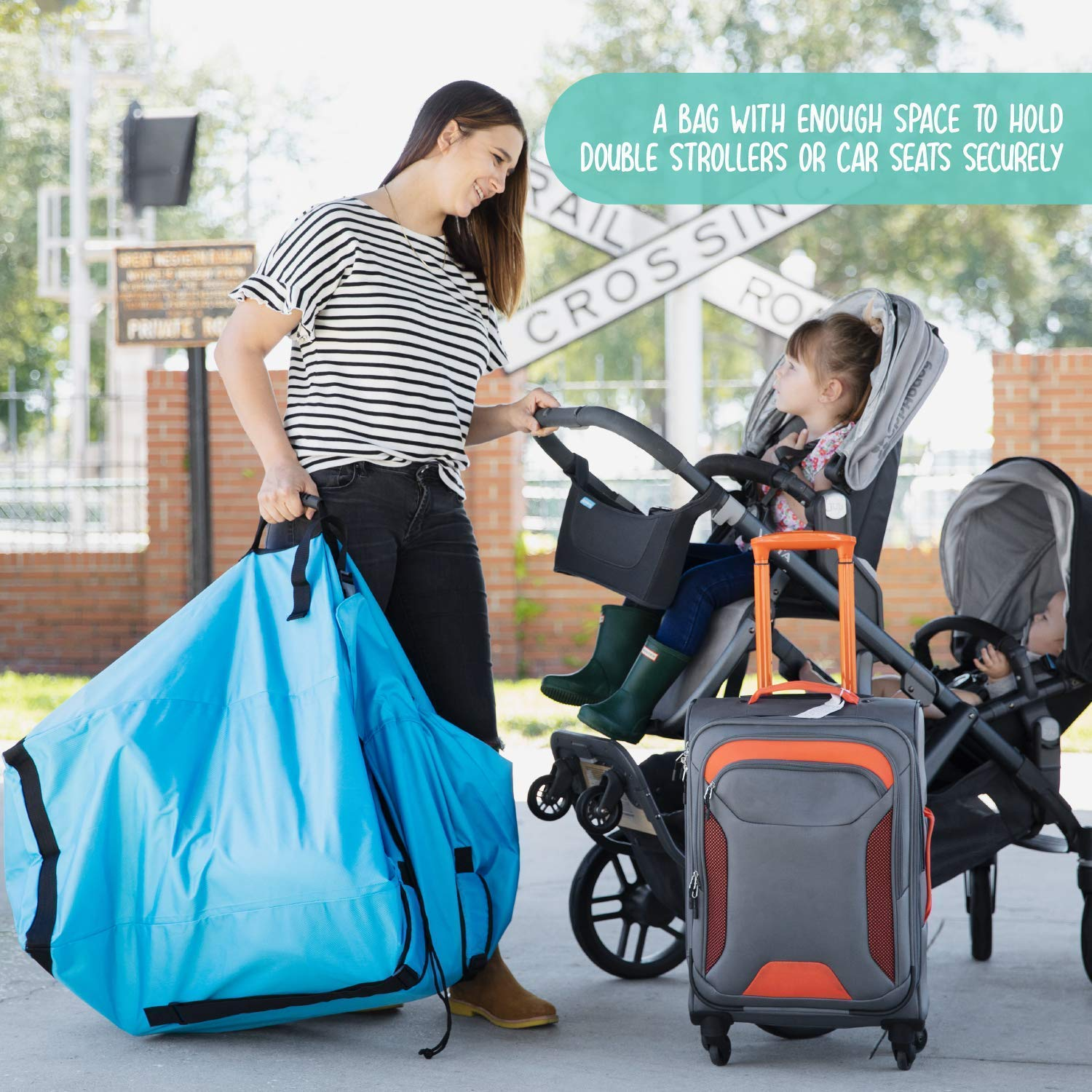 Clip Buckle Top Flap HedgeHop Extra Large Car Seat Reinforced Stitching Padded Shoulder Straps Double Buggy /& Pushchair Travel Bag High Tear Resistant 1680D Coated Fabric
