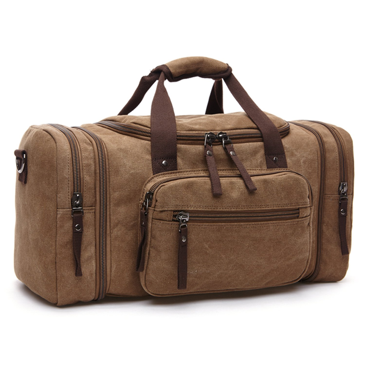 Lanivas 20.8'' Large Canvas Travel Tote Duffle Bag Luggage Weekender Travel Accessory Coffee