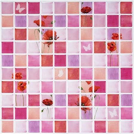 Ecoart 3d Autocollant Mural Impermeable Auto Adhesif En Mosaique De Fleurs Pour La Salle De Bain Et La Cuisine 6 Pieces Amazon Fr Cuisine Maison