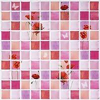Ecoart 3D Autocollant Mural Impermeable Auto-adhesif en Mosaique pour la Salle de Bain et la Cuisine 25.4 x 25.4cm Lot de 6