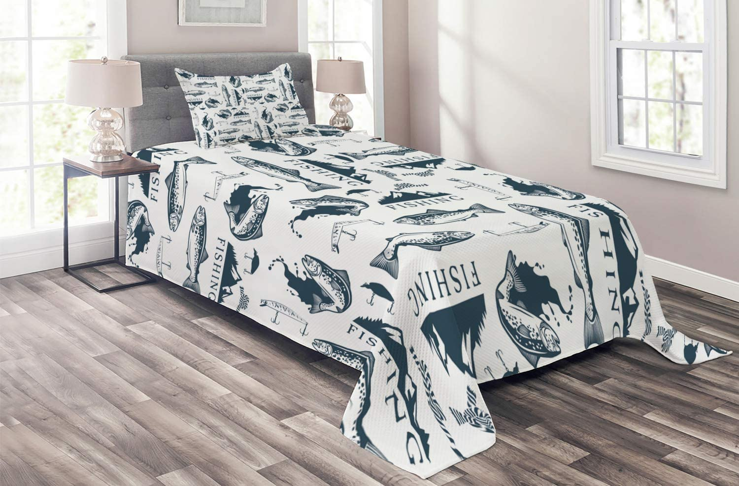 Lunarable Trout Coverlet, Trout Emblems Pattern Retro Style Marine Ropes Fishing Lures Mountains, 2 Piece Decorative Quilted Bedspread Set with 1 Pillow Sham, Twin Size, Dark Blue Grey and White