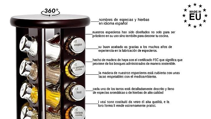 Especiero, Soporte giratorio para condimentos y especias, Madera + tarros de cristal, Gald - 20 silver line natural brillante: Amazon.es: Hogar