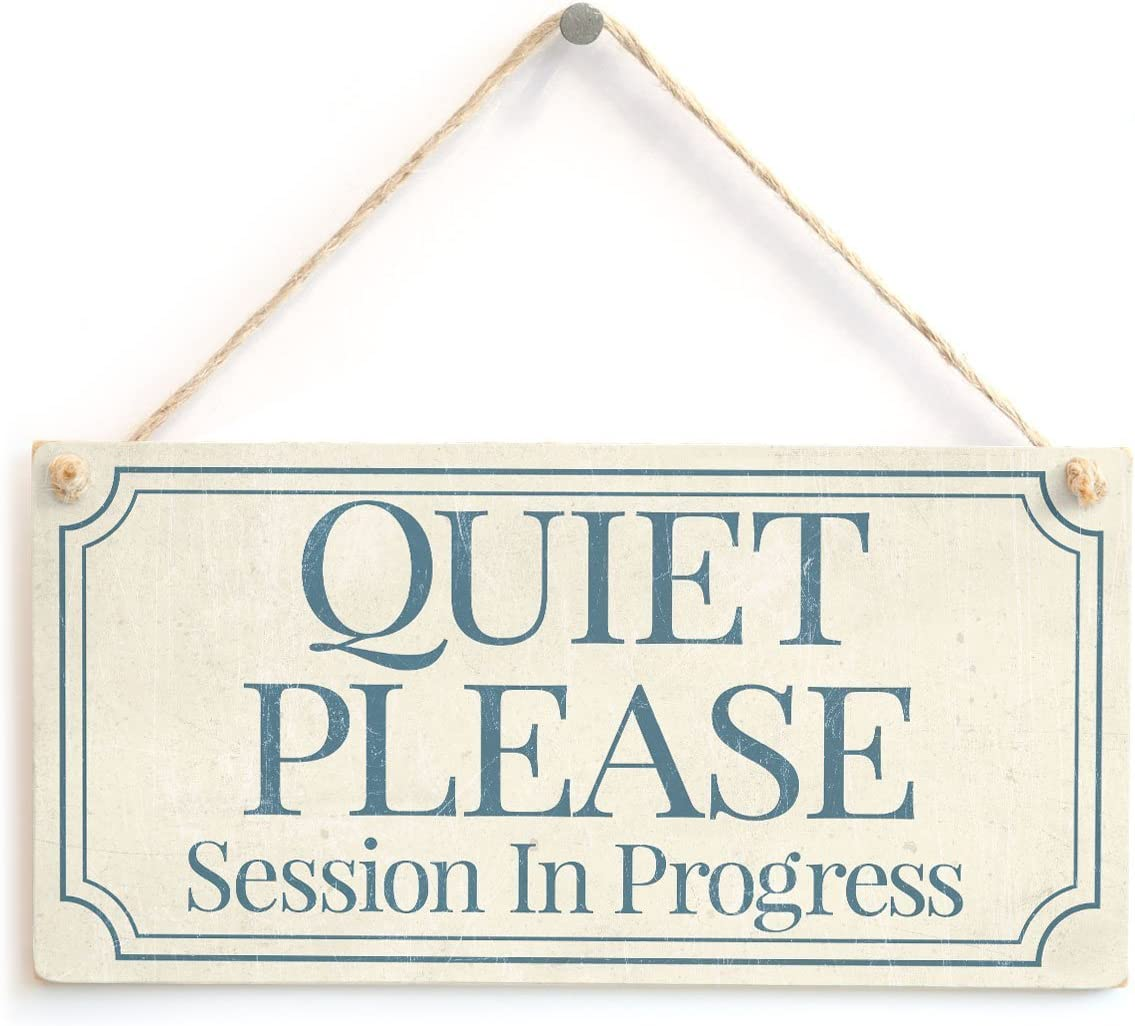 "QUIET PLEASE Session In Progress - Functional Small Office / Home Treatment Room Hanging Door Sign Wooden Hanging Sign 8"" X 12"""