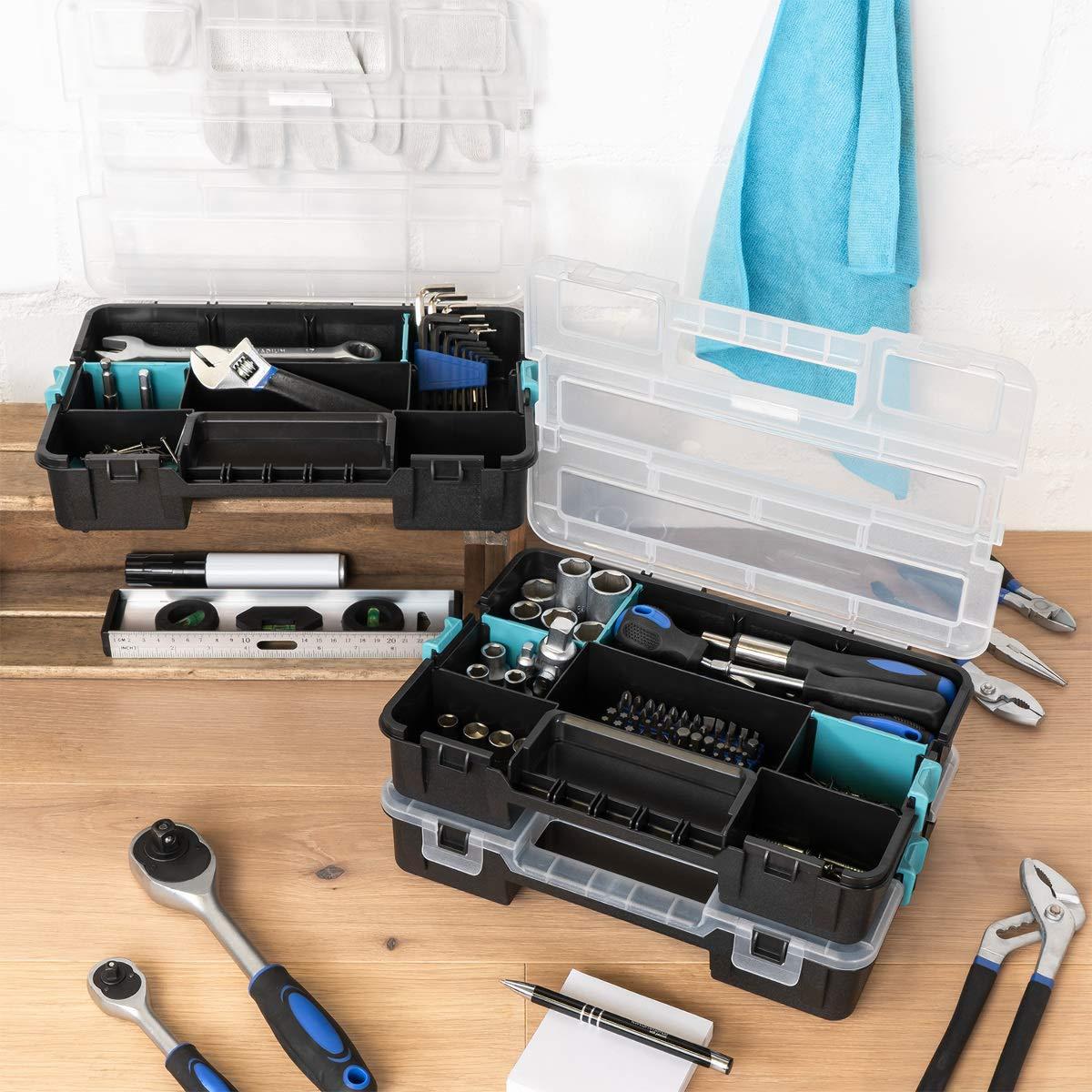 Verstellbare F/ächer Schrauben Sortimentskasten Box leer ohne Zubeh/ör Navaris Kleinteile Organizer Sortierkasten dreist/öckig 31,5x22,5x19,8cm