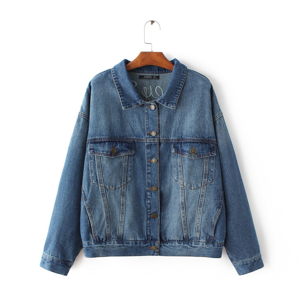 OMAS Classic Denim jacket Coat for women girl Flamingo Stand collar A14-O-ZA-0948