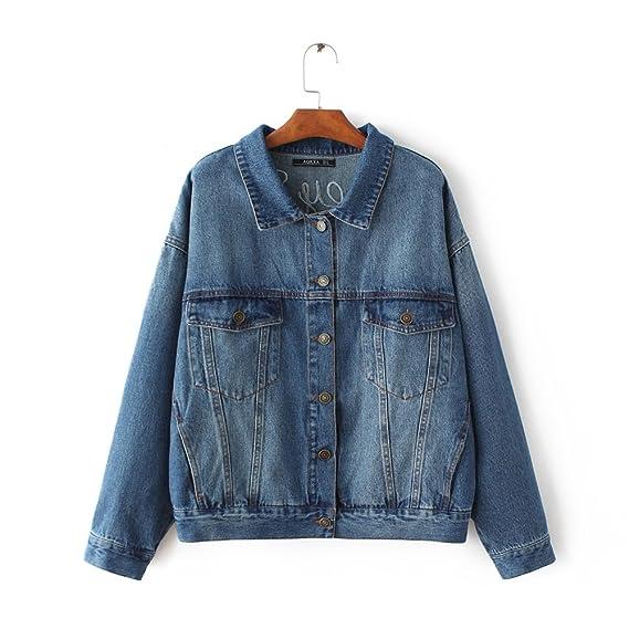 cd5b3bf5f OMAS Classic Denim Jacket Coat For Women Girl Flamingo Stand Collar:  Amazon.co.uk: Clothing