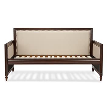 grandover wood daybed with nail head trim and cream upholstery espresso finish twin