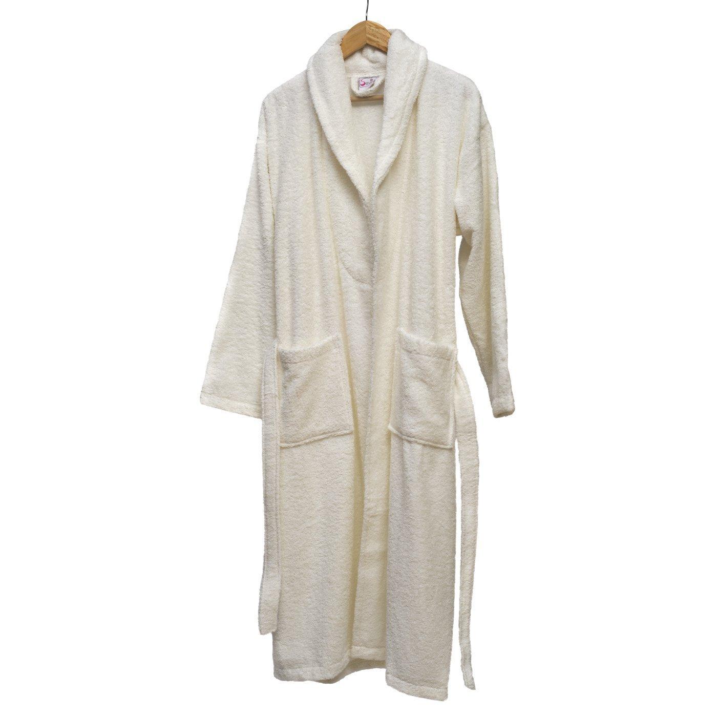 100% Turkish Cotton Extra Plush Bathrobe Set, Large Bath Towel, Hair Towel Unisex Terry Bathrobe Set - Moisture Wicking and Odor Resistant (White)