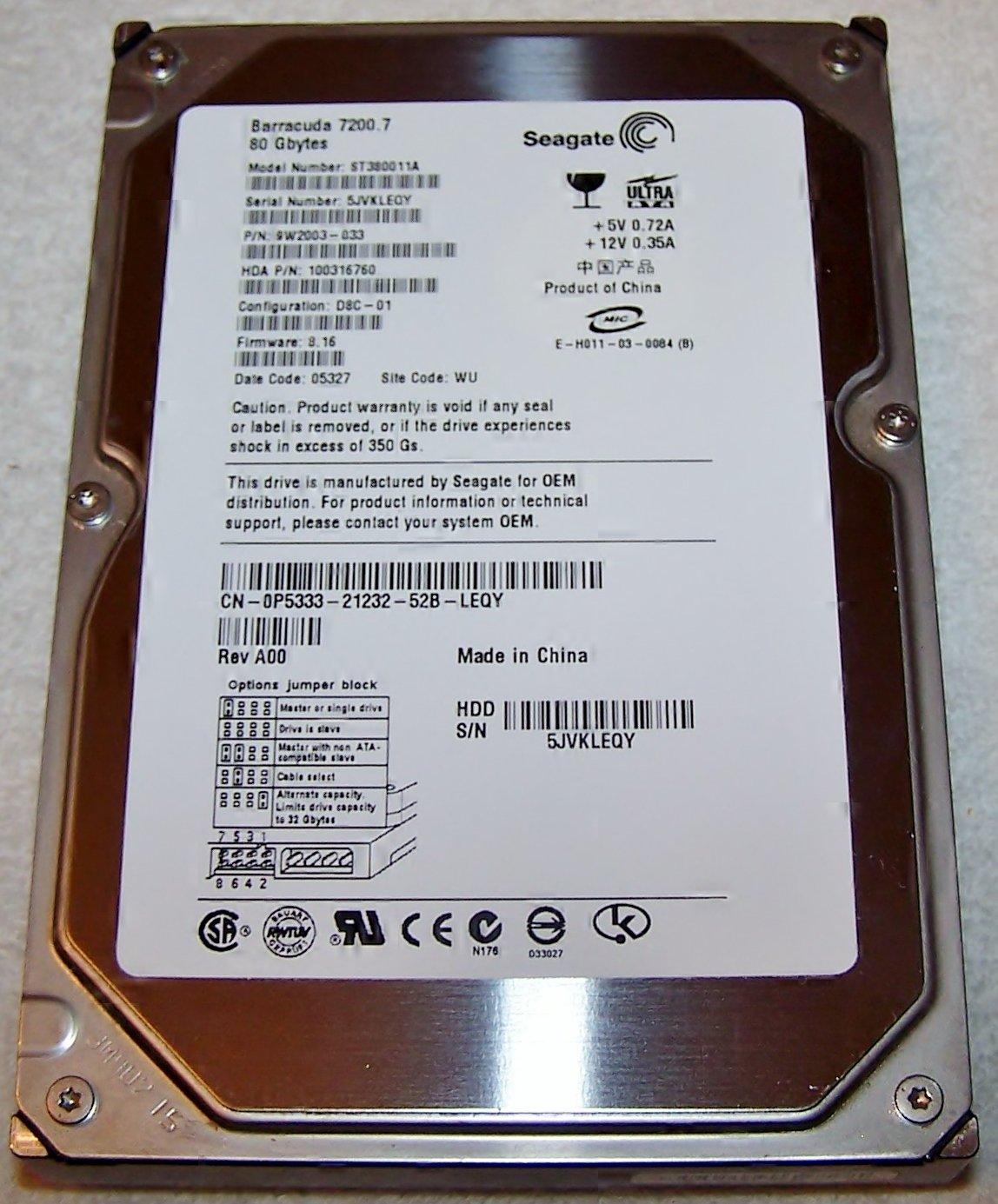 SEAGATE Barracuda Model ST380011A 80GB IDE Hard Drive