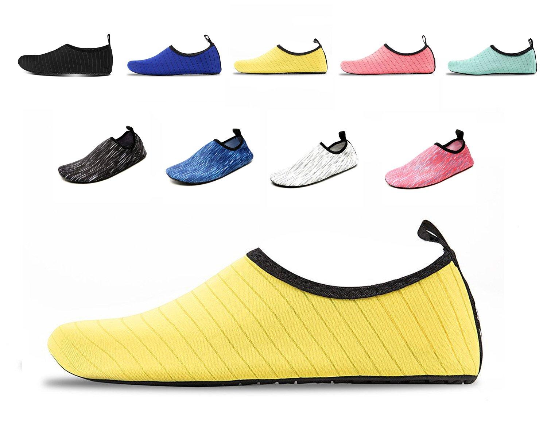 COMAMUY Women's and Men's Water Sports Shoes Aqua Socks for Beach Swim Surf Yoga Outdoor Walking(Yellow,XL)