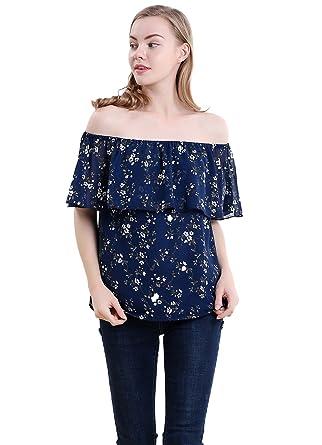 ce17ce7e94df3a Vero Viva Womens Floral Print Cold Shoulder Shirt Top Double Layered Ruffle  Tank(S