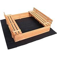 WilTec Zandbak vouwdeksel 2 bankstoelen 980x980x200 mm Sparren hout Fleece vloer Sandbox Zandbak