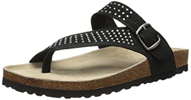 White Mountain Womens Coaster Toe Ring Sandal Black