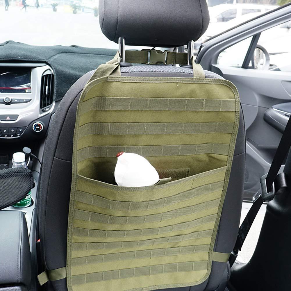 organizador para veh/ículo para uso al aire libre accesorio t/áctico Bolsa para asiento de coche soporte de almacenamiento para colgar negro protector multifunci/ón universal Verde militar.