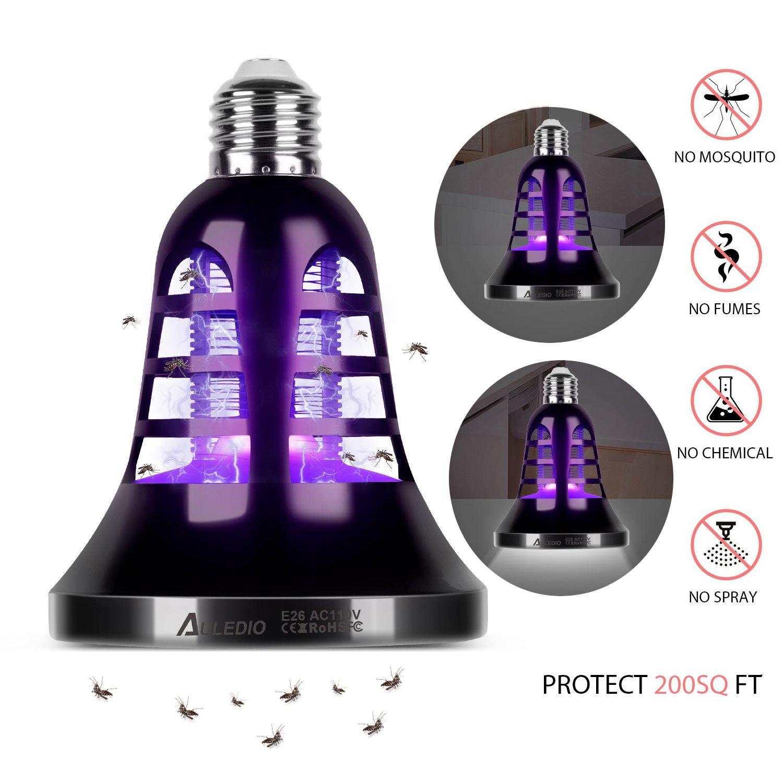 Bug Zapper Light Bulb - [2018 UPGRADED] Auledio 2 in 1 Electronic Insect Killer, Mosquito Killer, Fly Killer UV Lamp , 110V E26 Light Bulb Socket Base for indoor and outdoor(black)