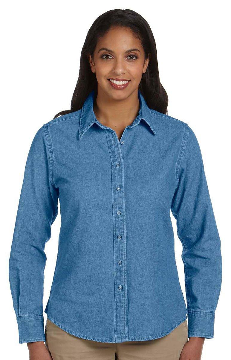 Harriton Ladies' 6.5 oz. Long-Sleeve Denim Shirt XL Light Denim