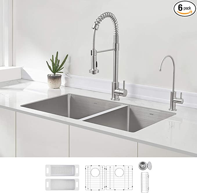 Left Bowl Big Basin// Right Bowl Small Basin Basket Strainers Stainless Steel Undermount Sink Vuzati 32 60//40 Undermount Stainless Steel Kitchen Sink Bottom Grids