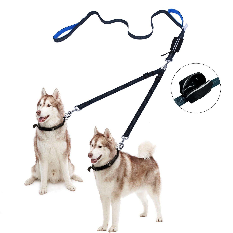 Free Paws Double Dog Leash ︱ No Tangle Dog Walking leash 2 Dogs Comfortable Adjustable Dual Padded Handles, Bonus Pet Waste Bag