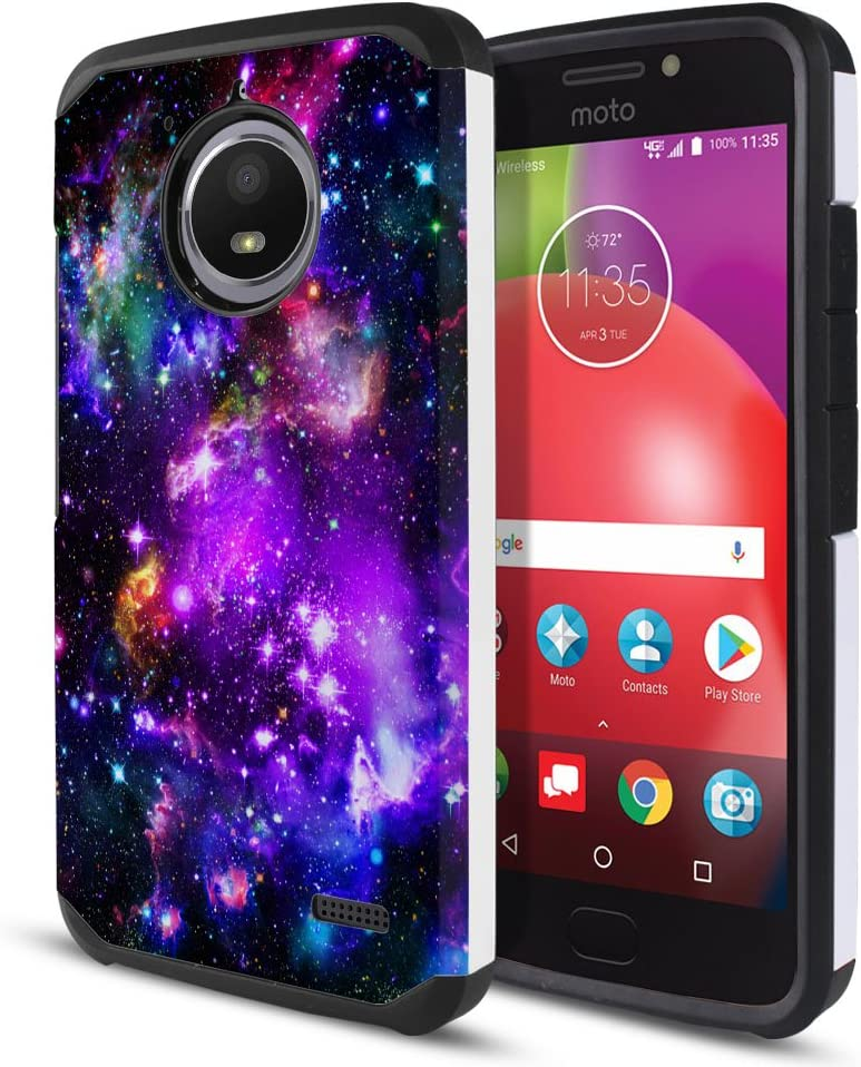 FINCIBO Case Compatible with Motorola Moto E4 XT1767 2017 USA, Dual Layer Hard Back Hybrid Protector Case Cover Anti Shock TPU for Moto E4 XT1767 (USA) (NOT FIT E4 Plus) - Purple Marvel Nebula Galaxy