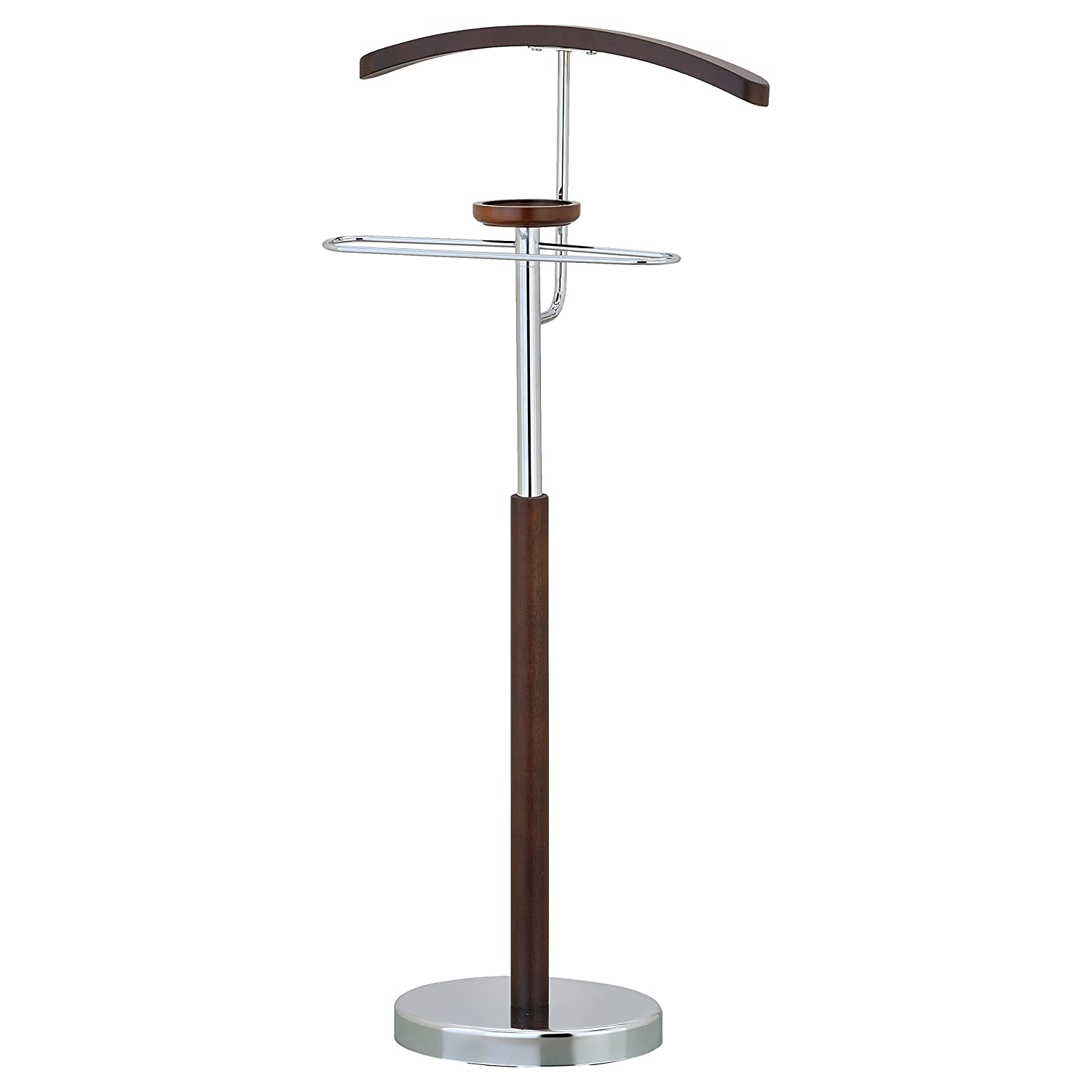Deluxe Wood & Chrome Suit Valet Stand, Jacket Pant Hanger Accessory Dish MyGift