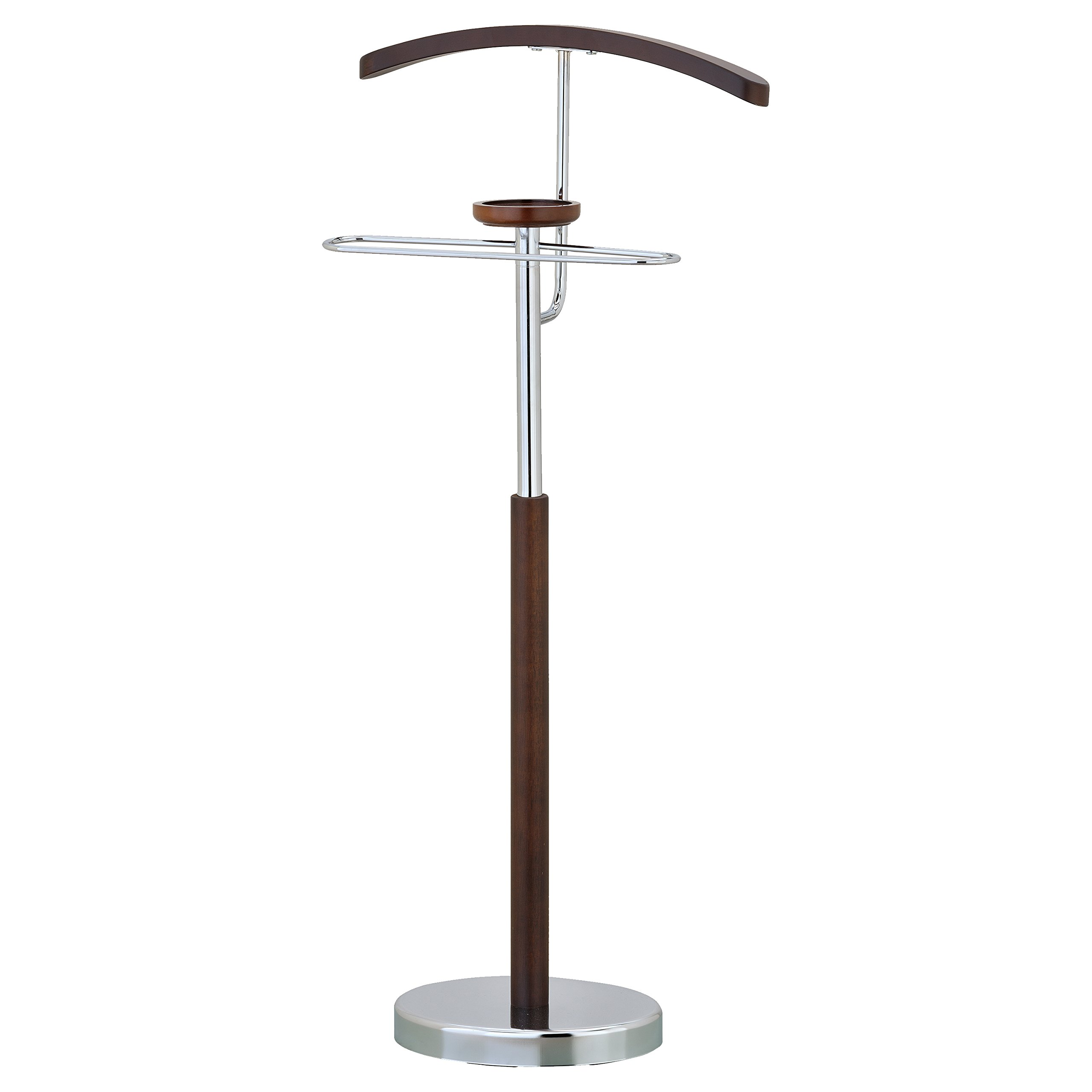 Deluxe Wood & Chrome Suit Valet Stand, Jacket and Pant Hanger with Accessory Dish