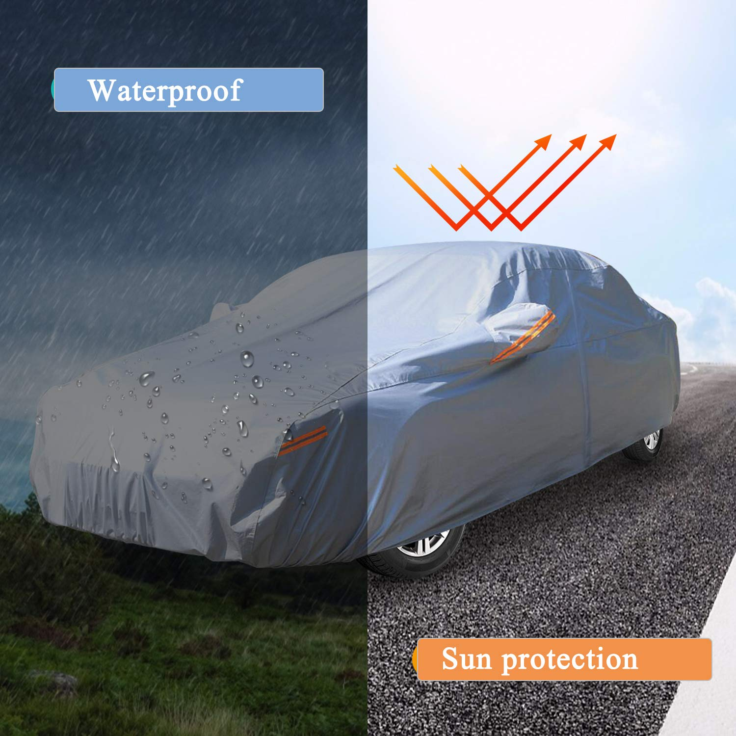 SUV Car Cover UV Protection Waterproof Windproof Scratch Resistant with Reflective Strips Drive-Side Door Zipper Automobiles Universal Full fit Car 178-191 YIBEICO Outdoor Full Car Cover