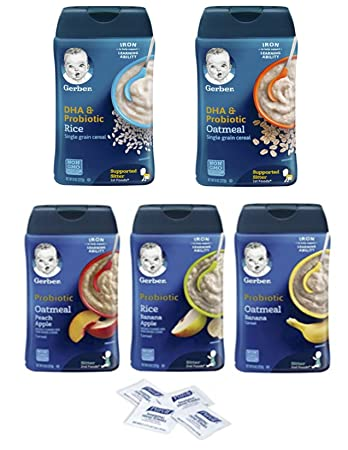 Gerber Baby Cereal Probiotic Super Pack, Oatmeal & Banana, Rice Banana Apple, Oatmeal