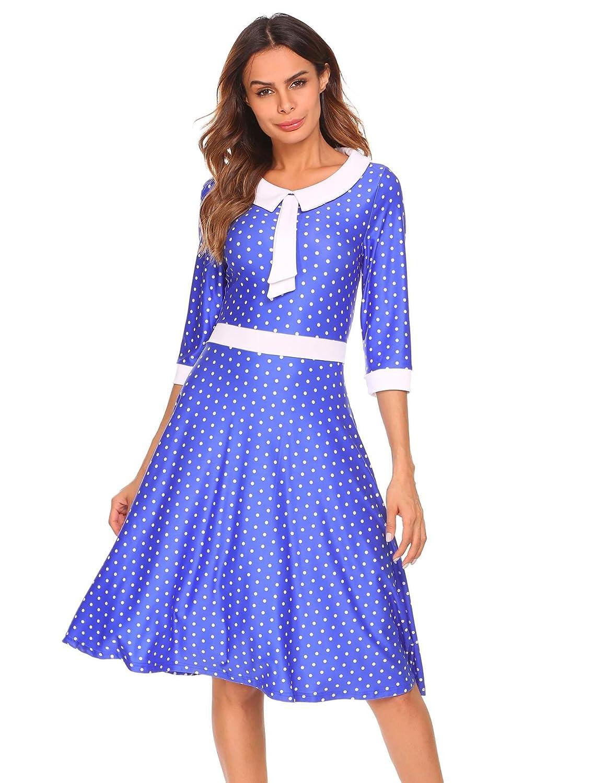Zeela Damen Vintage Kleid A-Linie 3/4 Ärmel Retro Polka Dots ...