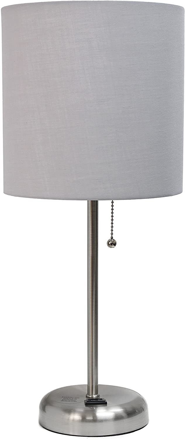 Limelights LT2024-GRY Brushed Steel Lamp with Charging Outlet and Fabric Shade, Grey - -
