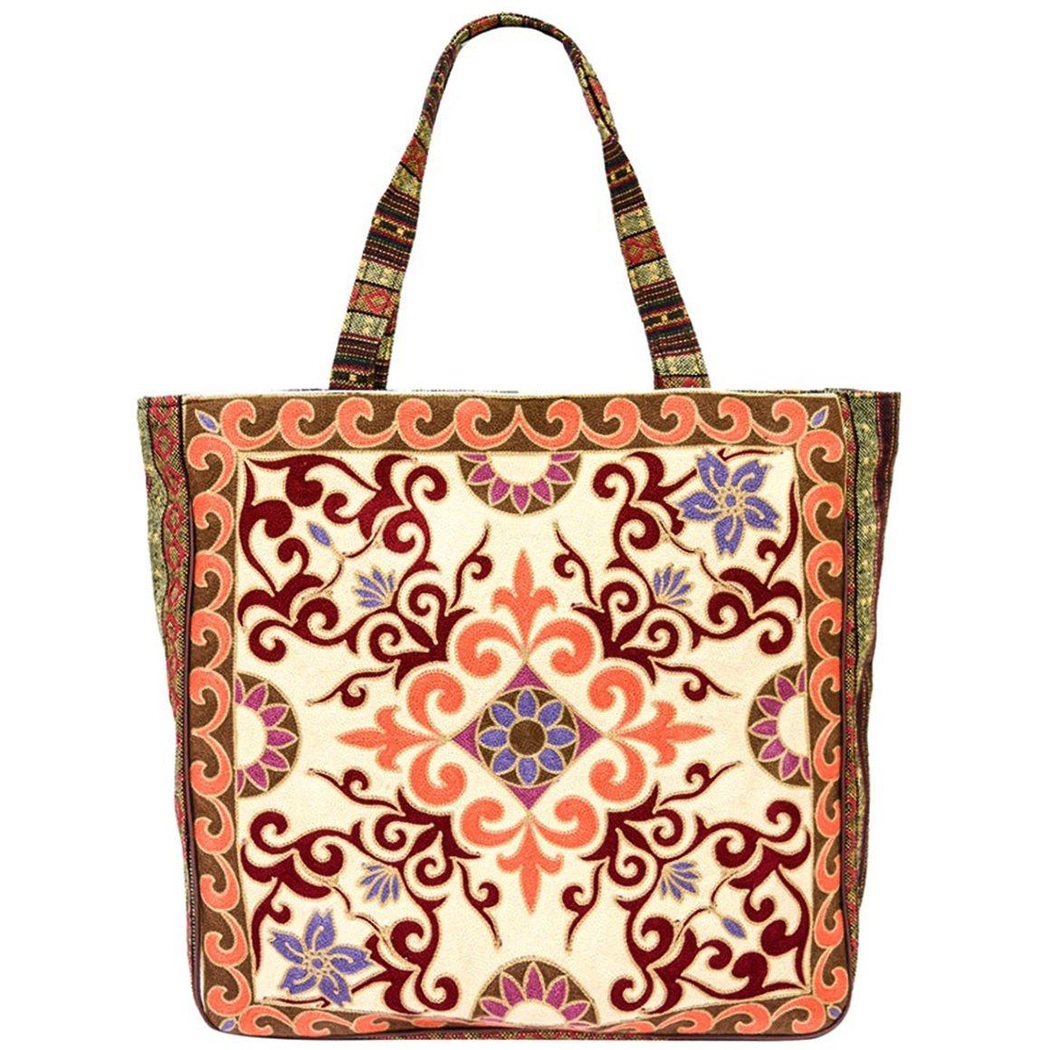 Vintage Bohemian Summer Embroidered Large Tote Bag Tapestry Shoulder Bag Women Handbag (Beige&baby pink)