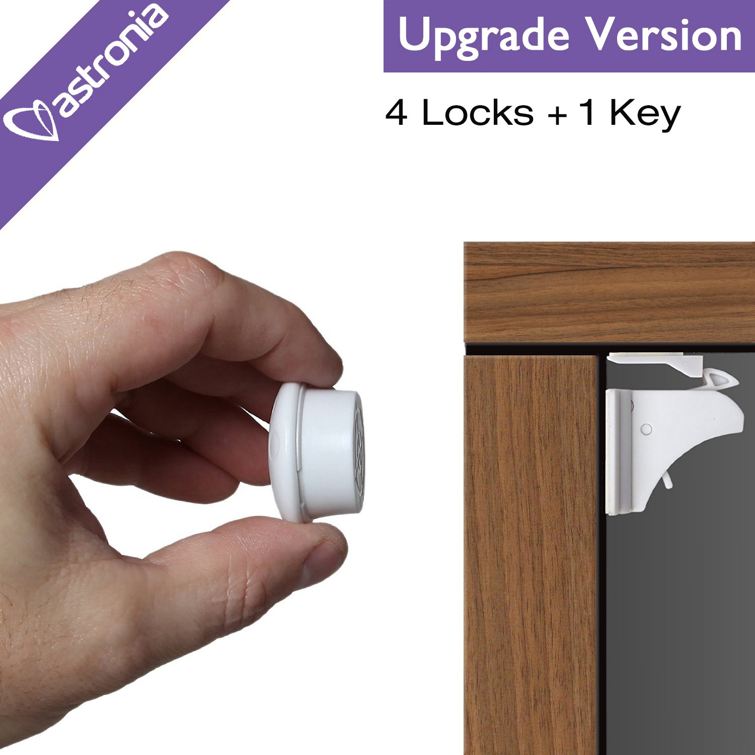 astronia Baby Safety Magnetic Cabinet Locks - No Tools Or Screws Needed, No Damage to your Furniture, (apply to your cabinets /cupboard/ drawers) 4 Locks + 1 Key