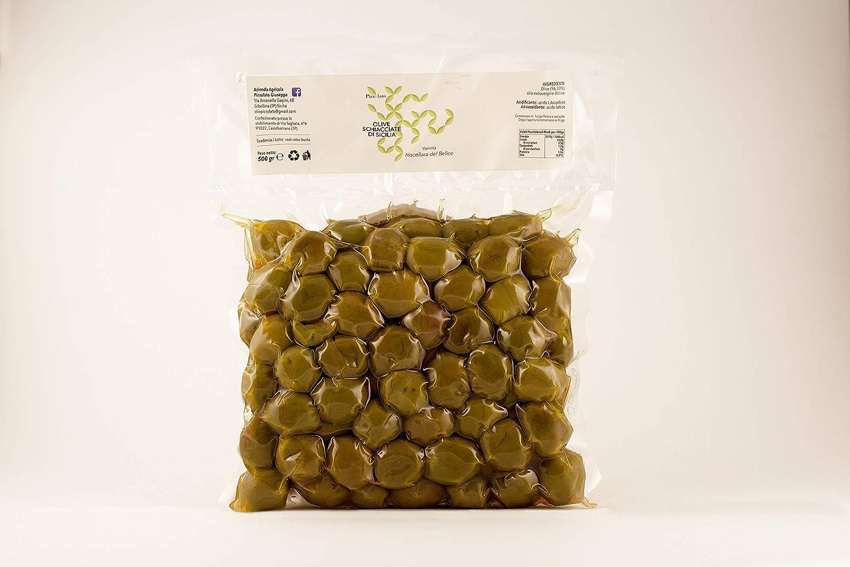 Olive Verdi Schiacciate Nocellara del Bel�ce con olio 500g