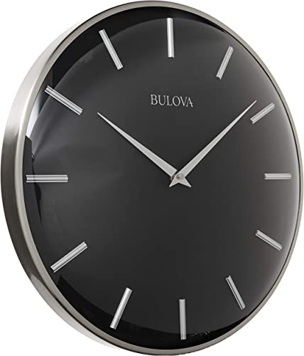 Bulova C4849 Metro Wall Clock, Satin Pewter Finish Matte Black