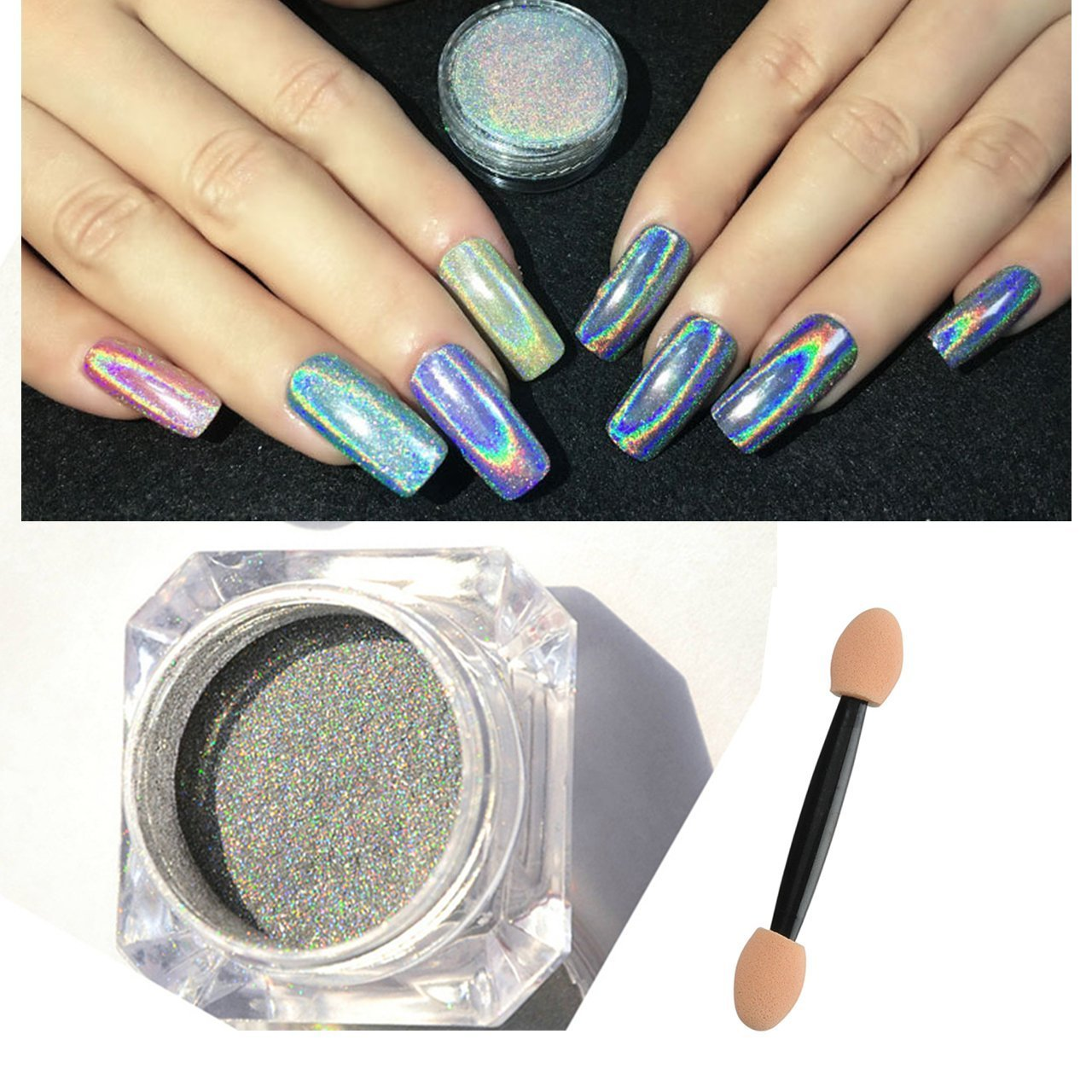 CCbeauty Rainbow Nail Powder Holographic Nail Art Glitter Powder Chrome Manicure Pigment Shimmer Color Changing Nail Art Tool