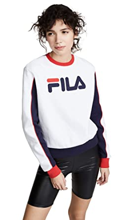 65474a394105 Fila Women's Nuria Colorblock Sweatshirt, White/Peacoat/Chinese Red, X-Small