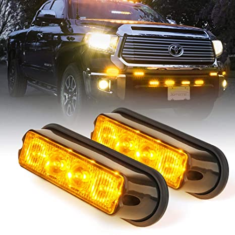 Strobe Lights For Trucks >> Amazon Com Xprite Amber Yellow 4 Led 4 Watt Emergency Vehicle