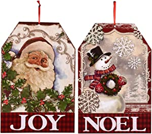 MJM Innovations Christmas Hanging Sign Decor | Decoration for Wall or Door 13.5 by 9 Inches | Vintage Look - Joy Noel Santa & Snowman 2 Pack (Joy & Noel)
