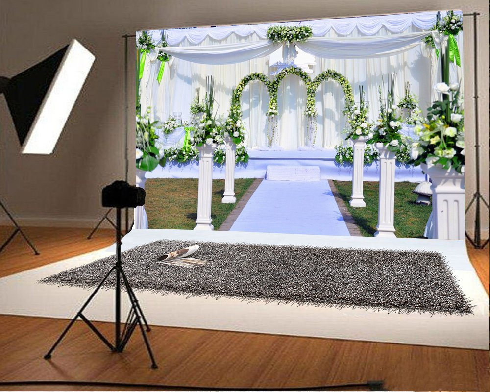 Laeacco 7x5ft Vinyl Backdrop Wedding Party Reception Photography Background Arch Flowers Vine Outdoor Ceremony Decorations Luxury Fresh Flowers Roman